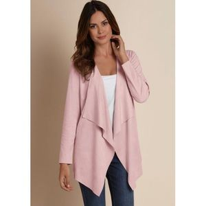Soft Surroundings Suede Open-Front Cardigan Pink